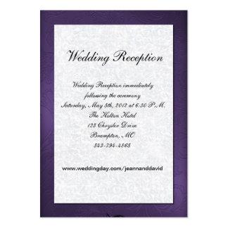 Tarjeta púrpura y blanca del recinto del boda tarjetas de visita grandes