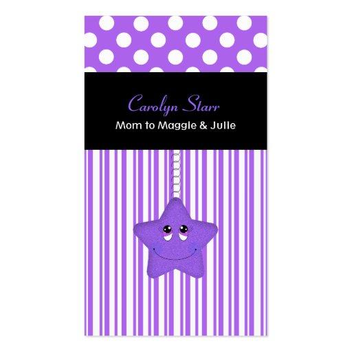 Tarjeta púrpura y blanca elegante de la mamá de la tarjetas de visita