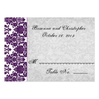 Tarjeta púrpura y de plata del lugar de la tabla -