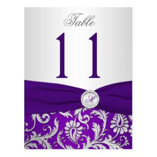 Tarjeta púrpura y de plata del número de la tabla  postales