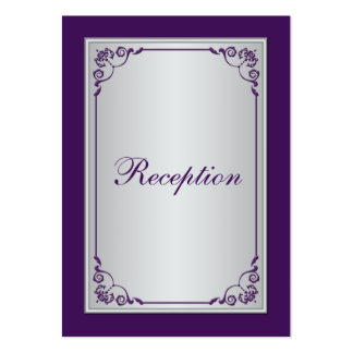 Tarjeta púrpura y de plata del recinto de la recep