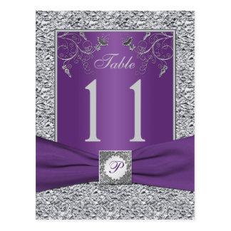 Tarjeta púrpura y FALSA del número de la tabla de Tarjeta Postal