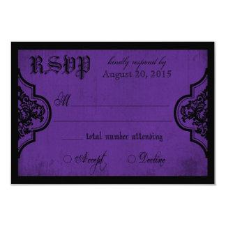 """Tarjeta púrpura y negra del gótico del cordón de invitación 3.5"""" x 5"""""""