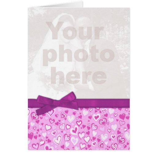 Tarjeta púrpura y rosada de la foto de la tarjeta