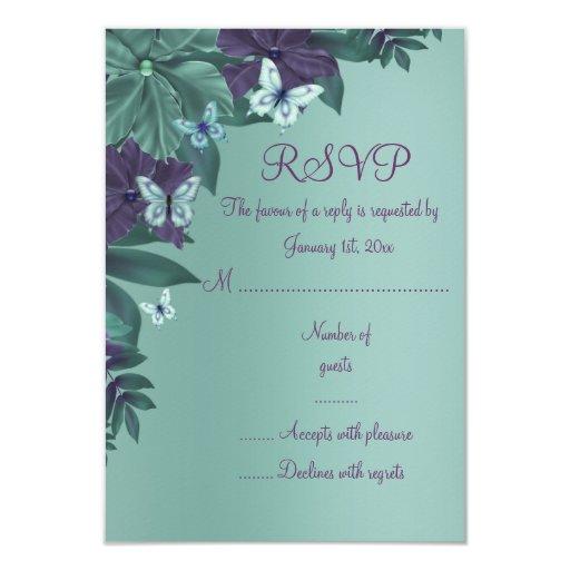 """Tarjeta púrpura y verde de RSVP del dulce 16 de la Invitación 3.5"""" X 5"""""""