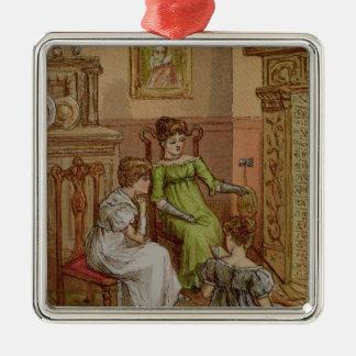 Tarjeta que representa una escena del hogar adorno cuadrado plateado
