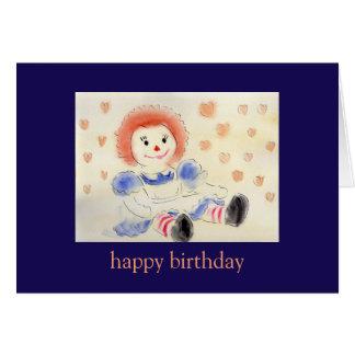 Tarjeta Raggedy de Ana del feliz cumpleaños