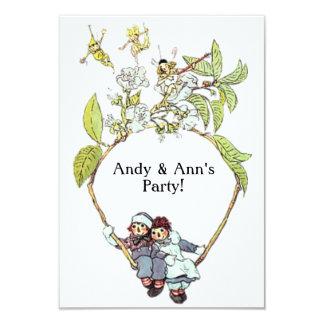 Tarjeta Raggedy de la invitación de Ana y de Andy