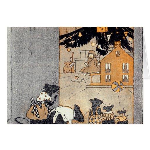 tarjeta - ratones y dollhouse del victorian debajo