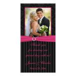 Tarjeta rayada de la foto del boda del damasco neg tarjetas personales