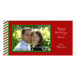 Tarjeta rayada de la foto del navidad tarjetas personales