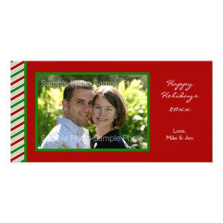Tarjeta rayada de la foto del navidad tarjetas personales con fotos