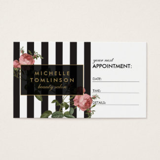 Tarjeta rayada floral de la cita del salón del tarjetas de visita