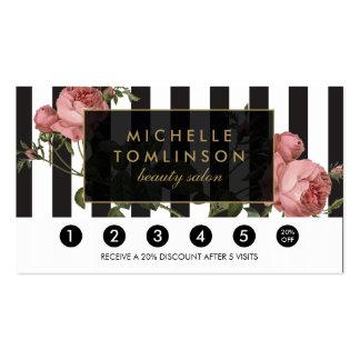 Tarjeta rayada floral de la lealtad del salón del tarjetas de visita