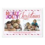 Tarjeta rayada moderna de la foto del navidad invitación 12,7 x 17,8 cm