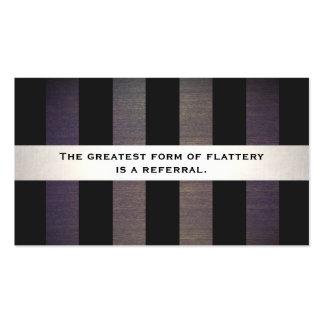 Tarjeta rayada negra y de madera elegante de la tarjetas de visita