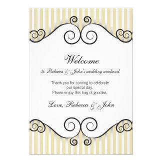 Tarjeta rayada oro de la recepción del boda del vi invitacion personalizada