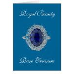 Tarjeta real de la belleza del anillo del zafiro