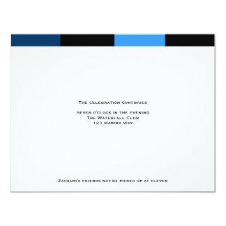 Tarjeta real de la recepción de los azules marinos invitación 10,8 x 13,9 cm