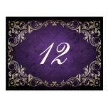 tarjeta real púrpura rústica del asiento de la tab postales