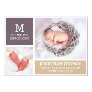 Tarjeta recién nacida de la foto de la invitación