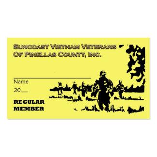 Tarjeta regular del miembro de los veteranos de tarjetas de visita