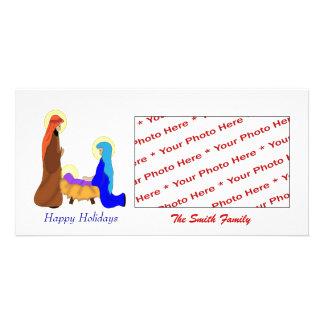 Tarjeta religiosa de la foto de la natividad del n tarjeta fotografica personalizada