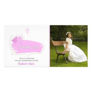 Tarjeta religiosa de la foto de las mariposas rosa tarjeta fotografica