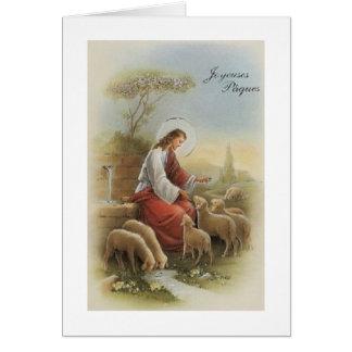 Tarjeta religiosa retra de Joyeuses Pâque pascua