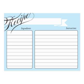Tarjeta retra azul de la receta tarjetas postales