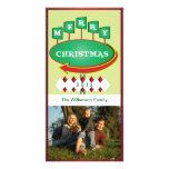 Tarjeta retra de la foto de la muestra del navidad tarjeta fotografica personalizada