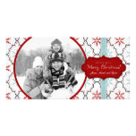 Tarjeta retra de la foto de los copos de nieve tarjeta con foto personalizada