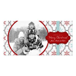 Tarjeta retra de la foto de los copos de nieve tarjetas personales
