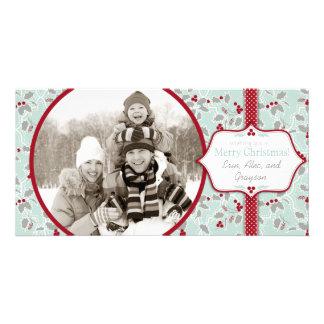 Tarjeta retra de la foto del acebo del navidad tarjeta fotografica