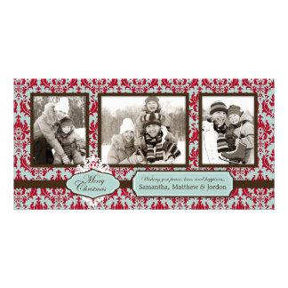 Tarjeta retra de la foto del brocado del navidad tarjeta fotográfica personalizada