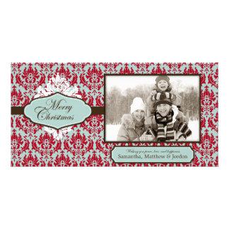 Tarjeta retra de la foto del brocado del navidad tarjetas con fotos personalizadas