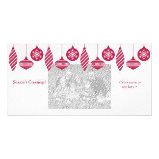 Tarjeta retra de la foto del navidad de los orname tarjetas fotograficas personalizadas