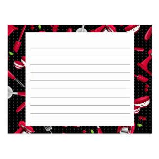 Tarjeta retra de la receta del artilugio de la tarjetas postales