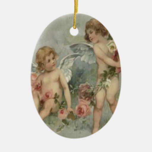 Tarjeta retra de la tarjeta del día de San Adorno Ovalado De Cerámica
