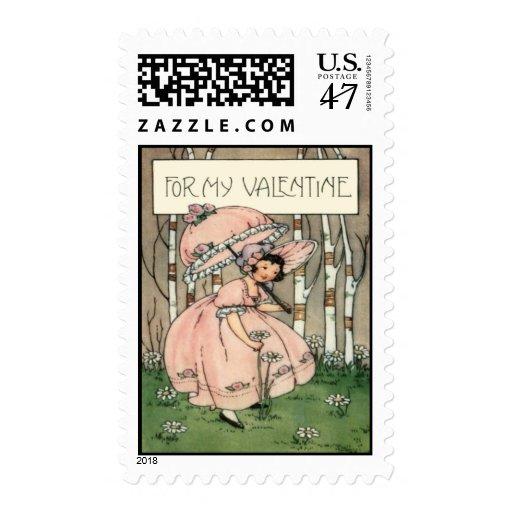 Tarjeta retra de la tarjeta del día de San Sello Postal