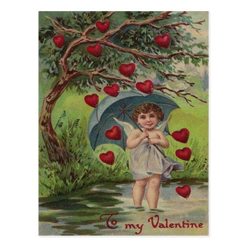 Tarjeta retra de la tarjeta del día de San Valentí Tarjeta Postal