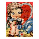 Tarjeta retra de la tarjeta del día de San Valentí Postal