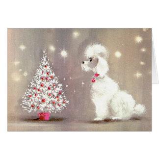 Tarjeta retra del caniche y del árbol de navidad