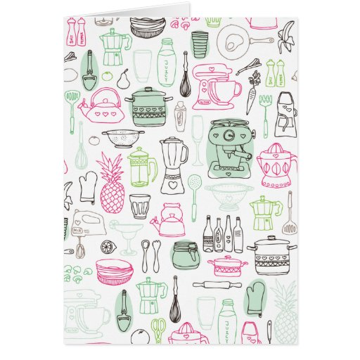 Tarjeta retra del doodle de la cocina linda