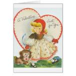 Tarjeta retra del el día de San Valentín de la niñ
