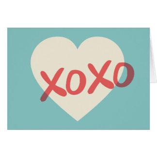 Tarjeta retra del el día de San Valentín del coraz
