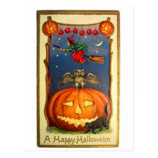 Tarjeta retra del feliz Halloween del kitsch del v Tarjetas Postales