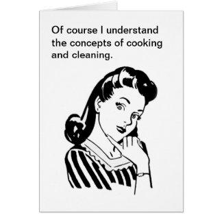 Tarjeta retra divertida del día de madre que cocin