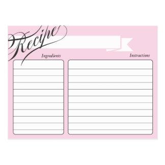 Tarjeta retra rosada de la receta postal