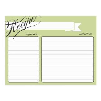 Tarjeta retra verde de la receta postal